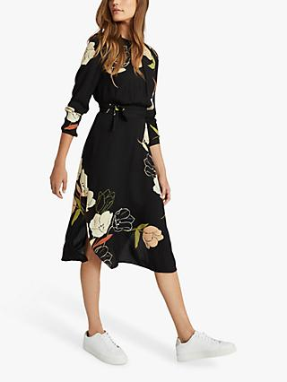 Reiss Arley Floral Print Midi Dress, Black