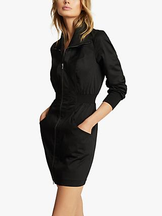 Reiss Greta Zip Through Mini Dress, Black