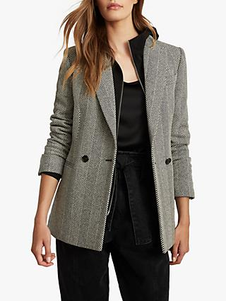 Reiss Taite Herringbone Wool Blend Blazer, Black/White