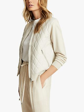 Reiss Ayla Quilted Hybrid Zip Through Blazer, Neutral