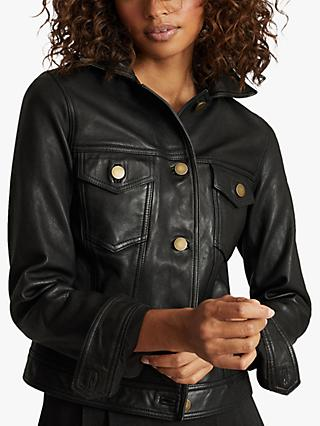 Reiss Piper Leather Trucker Jacket, Black