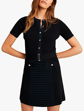 Reiss Kate Belted Dress, Navy