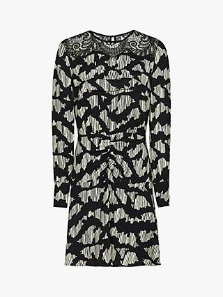 Reiss Miya Lace Insert Flippy Mini Dress, Black