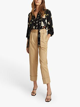Reiss Abril Floral Print Blouse, Black