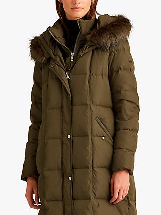 Lauren Ralph Lauren Quilted Down Fill Hooded Coat, Green