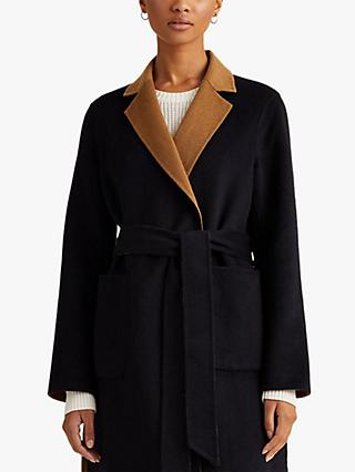 Lauren Ralph Lauren Reversible Wool Blend Coat, Navy