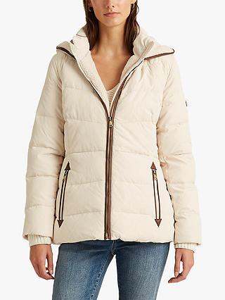 Buy Lauren Ralph Lauren Faux Fur Trim Hood Quilted Jacket, Cream, XS Online at johnlewis.com
