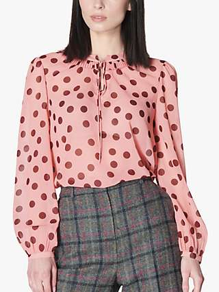 L.K.Bennett Tate Polka Dot Tie Neck Blouse, Light Pink/Bordeaux