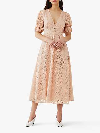 Ghost Ebba Lace Floral Midi Dress