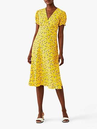 Ghost Jemima Floral Print Knee Length Dress, Yellow