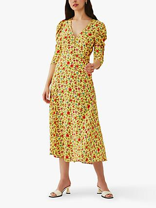 Ghost Mira Floral Ruched Sleeve Crepe Midi Dress, Rosemary Garden
