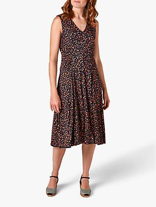 Jigsaw Speckle Print Midi Dress, Navy