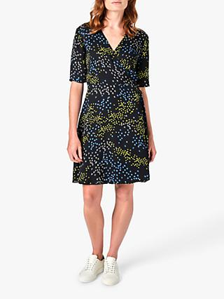 Jigsaw Animal Floral Print Wrap Dress, Slate/Multi