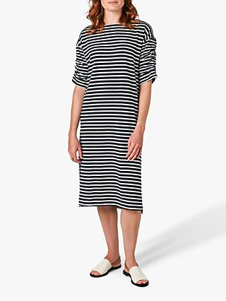 Jigsaw Breton Stripe Jersey Dress, Navy/White