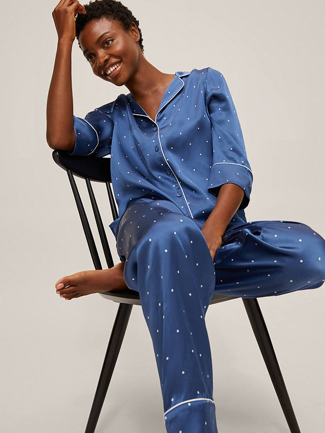 Buy John Lewis & Partners Corinne Polka Dot Silk Pyjama Set, Blue, S Online at johnlewis.com