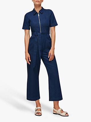 Whistles Tie Waist Denim Jumpsuit, Blue
