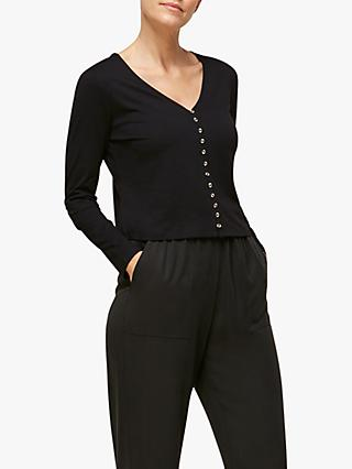 Whistles Sabrine Button Front Top, Black