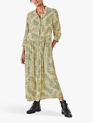 hush Lianne Abstract Print Maxi Shirt Dress, Yellow