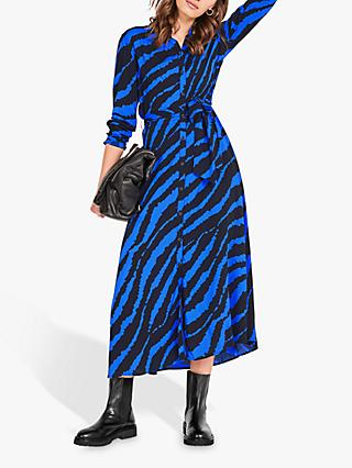 hush Sophie Animal Print Maxi Shirt Dress, Blue