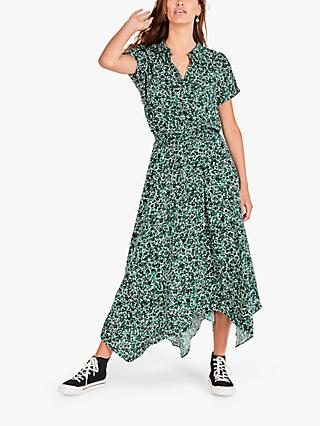 hush Kensington Abstract Floral Print Hanky Hem Shirt Maxi Dress, Green