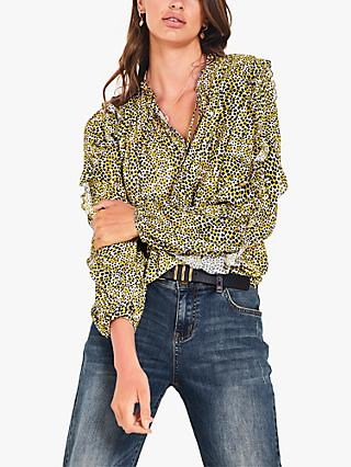 hush Esther Animal Spot Print Blouse, Yellow