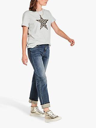 hush Leopard Star Crew Neck Tee, Grey