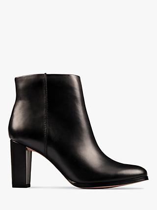 Clarks Kaylin Leather Heeled Ankle Boots, Black