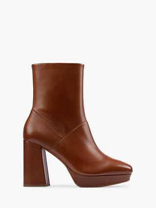 Clarks Sheer High Block Heel Leather Ankle Boots, Dark Tan