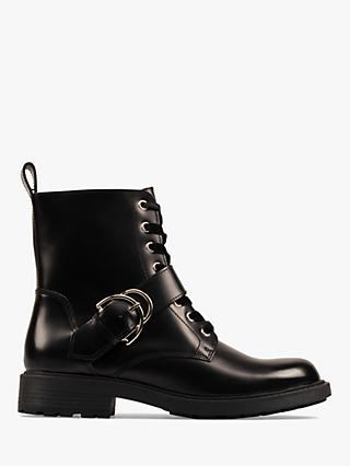 Clarks Orinoco 2 Leather Buckle Ankle Boots, Black