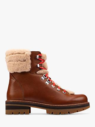 Clarks Orianna Chunky Fur Top Leather Hiker Boots, Dark Tan