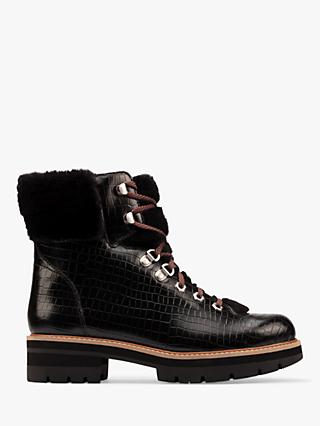 Clarks Orianna Chunky Croc Effect Leather Hiker Boots, Black