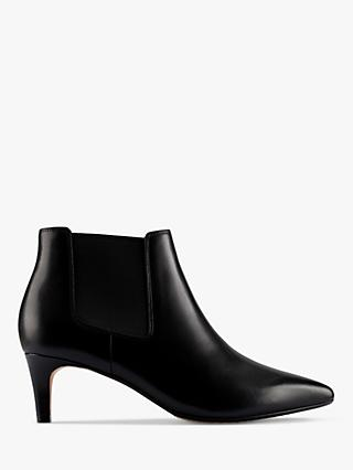 Clarks Laina 55 Kitten Heel Leather Ankle Boots, Black