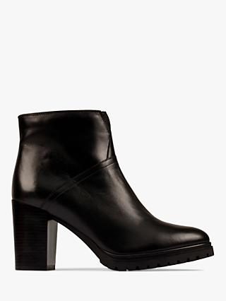 Clarks Hapus Zip Leather Heeled Ankle Boots
