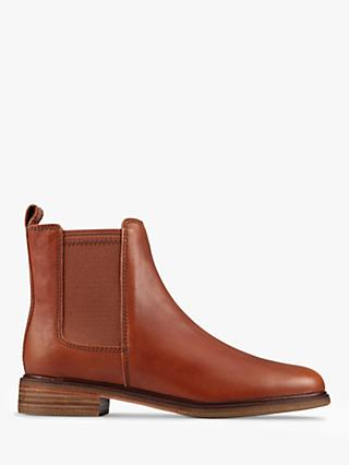 Clarks Clarkdale Arlo Wide Fit Leather Chelsea Boots, Tan