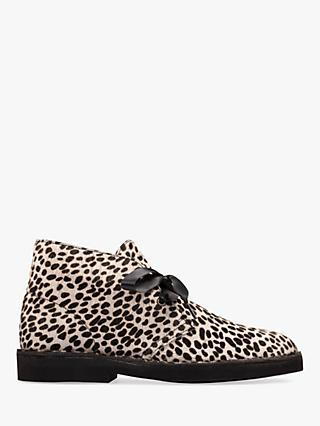 Clarks Desert Leather Lace Up Boots, Leopard