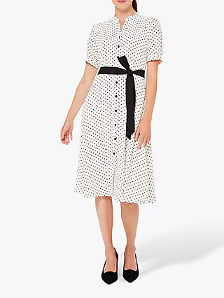 Hobbs Eliza Shirt Polka Dot Knee Length Dress, Ivory/Black