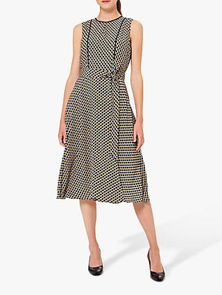 Hobbs Petite Madeleine Geo Print Midi Dress, Blue/Multi