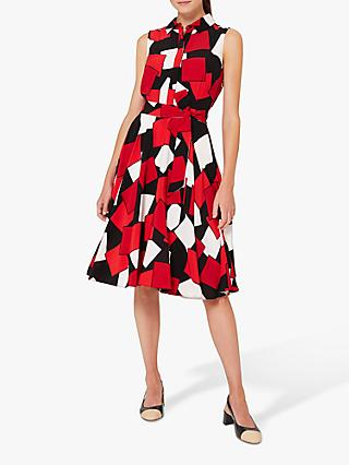 Hobbs Petite Belinda Abstract Print Knee Length Dress, Red/Multi