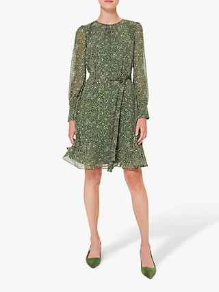 Hobbs Frances Spot Knee Length Dress, Fern Green