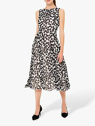 Hobbs Petite Carly Leaf Print Midi Dress, Ivory/Black
