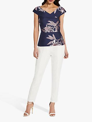 Adrianna Papell Floral Print Off Shoulder Top, Navy