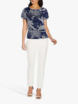 Adrianna Papell Floral Sequin Embellished Top, Midnight