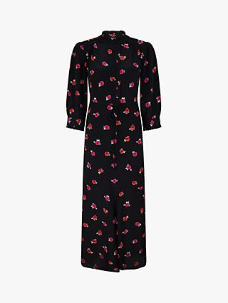 Monsoon Rose Print Maxi Dress, Black