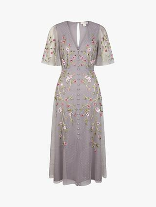 Monsoon Natalia Tea Floral Embroidered Maxi Dress, Light Grey