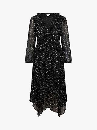 Monsoon Spot Print Midi Dress, Black