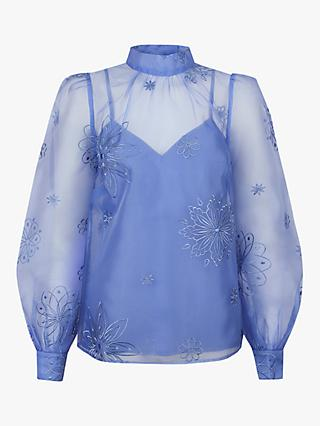 Monsoon Aubree Floral Embroidered Blouse, Blue