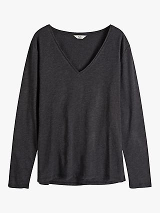 hush Long Sleeve V-Neck Slub Tee