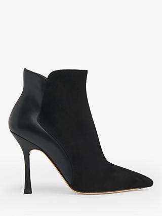 L.K.Bennett Aliyah Suede and Leather Stiletto Heel Ankle Boots, Black