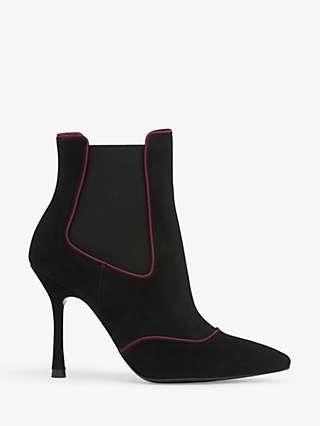 L.K.Bennett Adelaide Suede Stiletto Heel Ankle Boots, Black/Pink