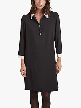 Gerard Darel Ticia Crepe Shirt Dress, Black/White